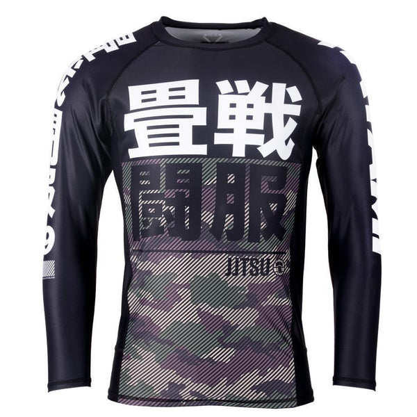 Essential Camo Long Sleeve Rash Guard - Green