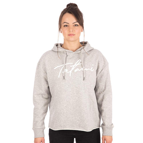 Ladies Cropped Hoodie - Heather Grey