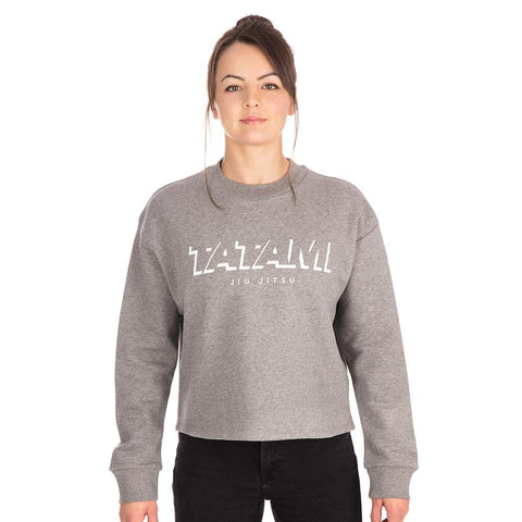 Ladies Cropped Sweat Shirt - Heather Grey