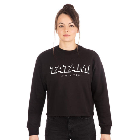 Ladies Cropped Sweat Shirt - Black