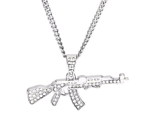 Image of Iced out Ak-47 Pendant & Chain