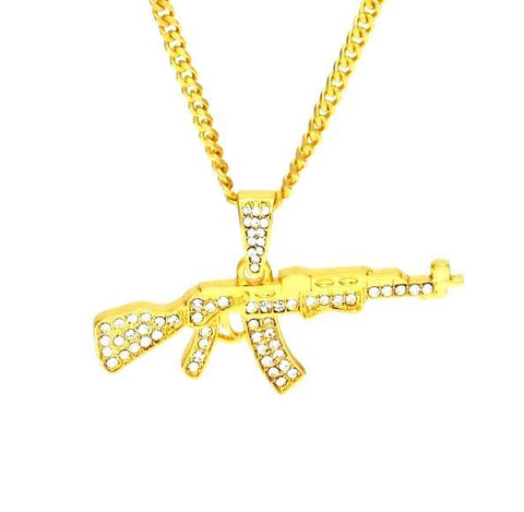 Image of Iced out Ak-47 Pendant & Chain (Free)