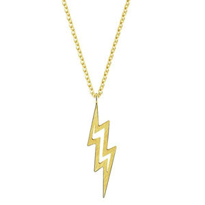 Gold Link Chain Lightning Bolt Necklace Pendant (Free)