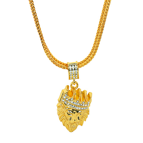 Image of Lion Pendant: Best Selling Gold Lion Chain/Pendant (Free)