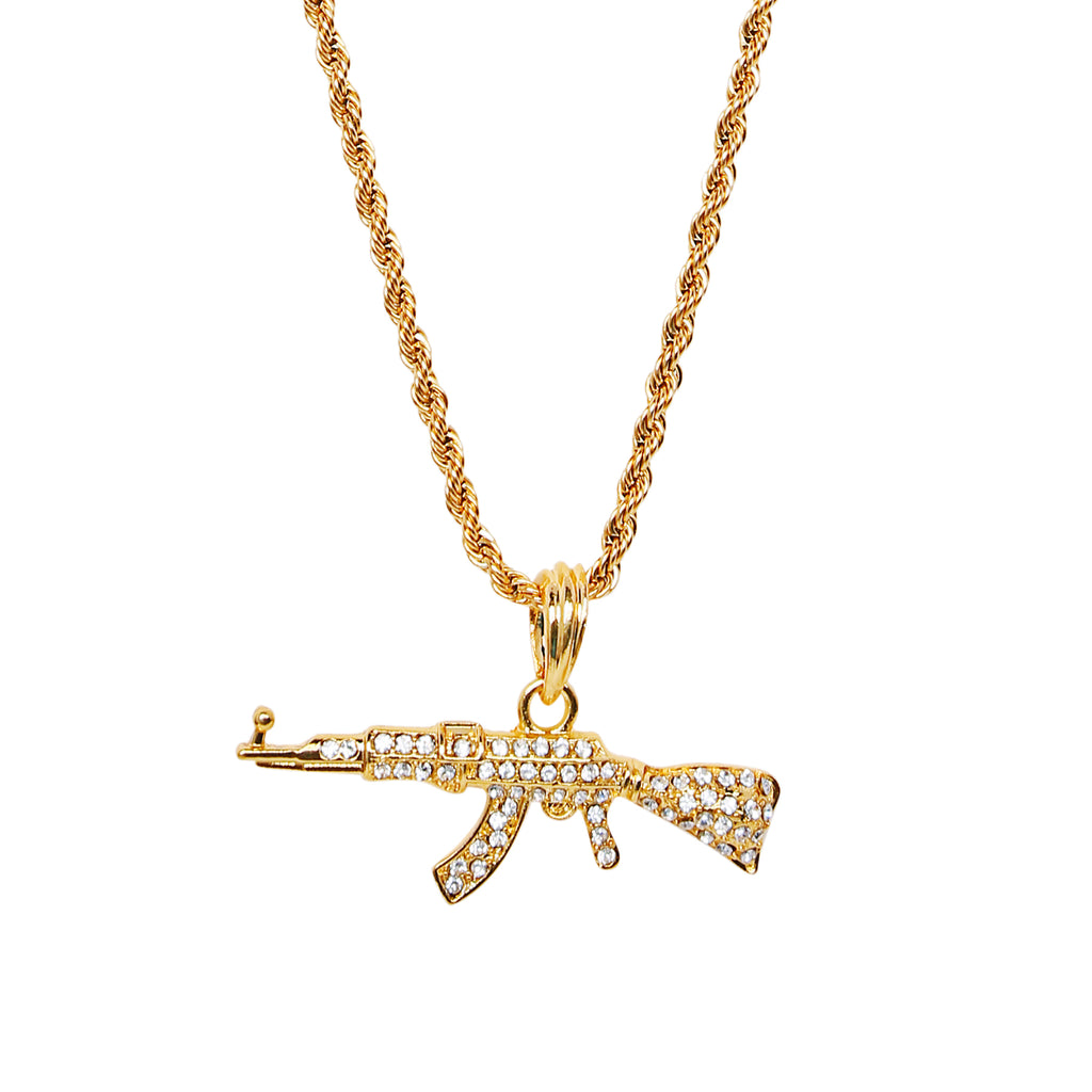 Iced out Ak-47 Pendant & Chain (Free)