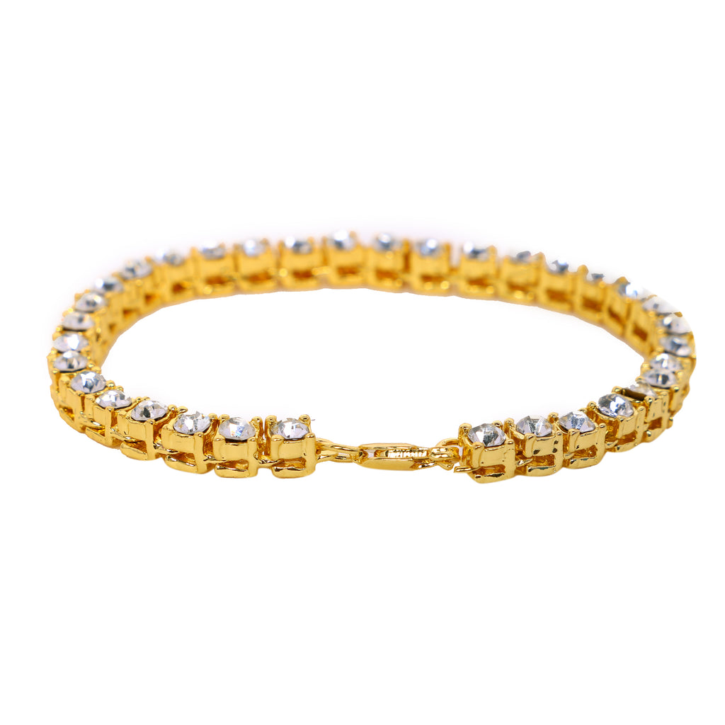 Iced Out Bracelet: Micro Iced Out Tennis Bracelet in Gold (Special Offer)