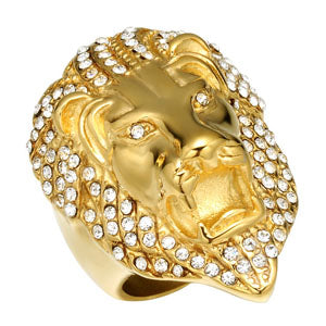 Micro Paved Rhinestone Iced Out Bling Lion Head Ring