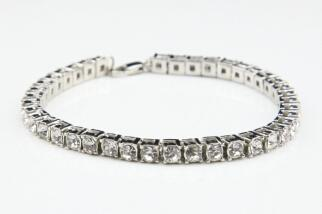 Image of Best Selling Iced Out Bracelet: Micro Iced Out Tennis Bracelet in Gold & Silver