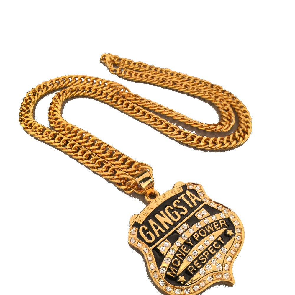 Mens Iced Out Gangster Money Power Charm Link Chain Necklace