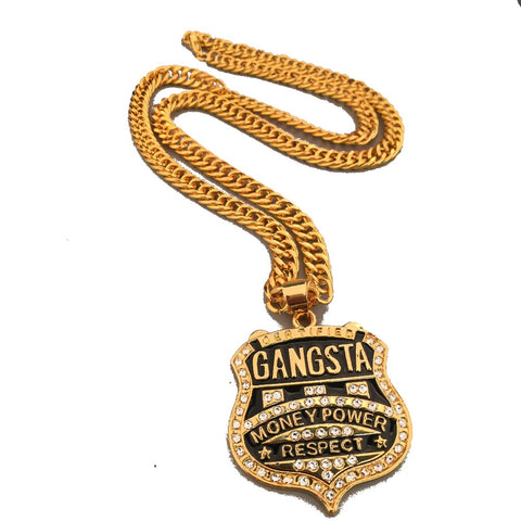 Image of Mens Iced Out Gangster Money Power Charm Link Chain Necklace