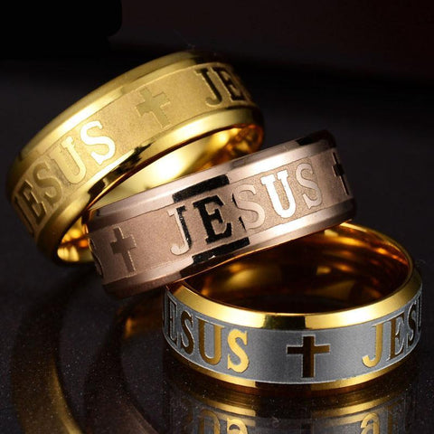 Image of Stainless Steel Letter Bible Rings Jesus Cross Ring