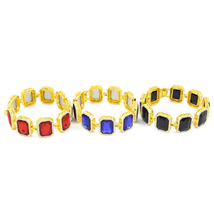 Hip Hop Gold Color Rhinestone Square Gem Crystal Bracelet Bangle