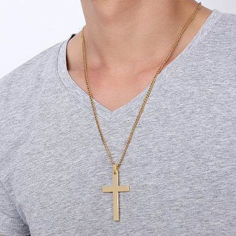 Image of Cross Gold Men's Cuban Chain