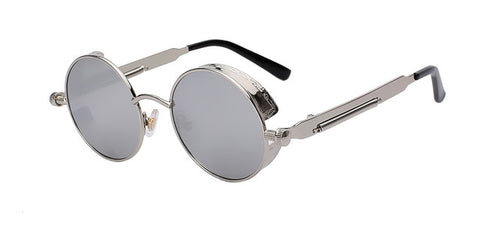 Retro Vintage Round Metal Steampunk Sunglasses