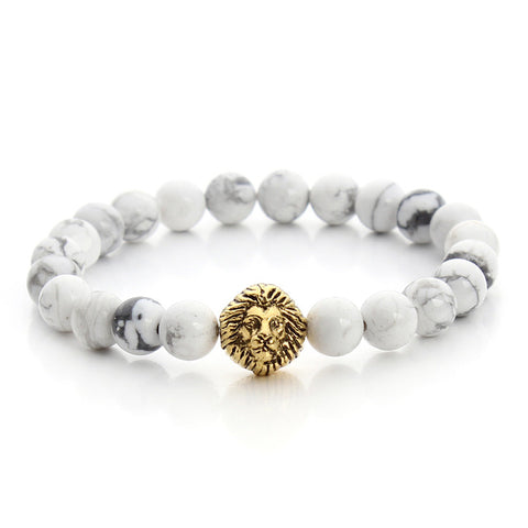 Image of Leo Lion Head White Stone Beaded Bracelet (Free)
