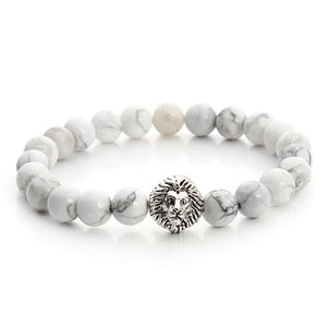 Leo Lion Head White Stone Beaded Bracelet (Free)