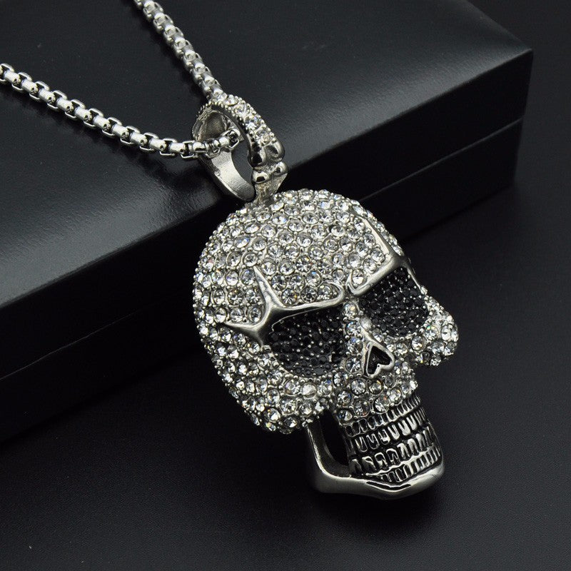 Titanium Iced Out Skeleton Skull Pendant Necklace