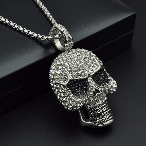 Image of Titanium Iced Out Skeleton Skull Pendant Necklace