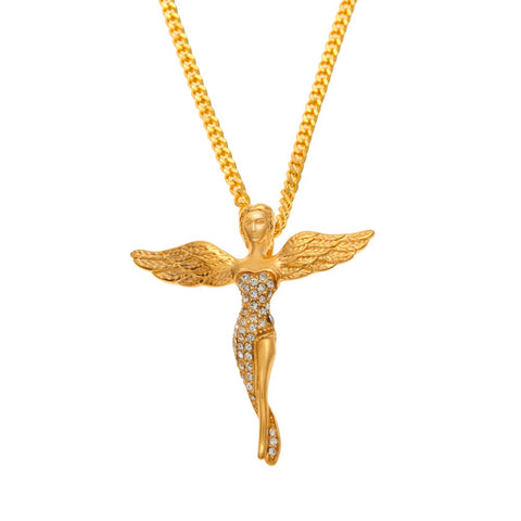 Image of Iced Out Gold Baby Angel Chain