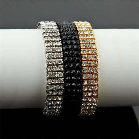 Image of Iced Out Hip hop Bracelet Silver/Gold Color 3 Row Bling Bling Rhinestones