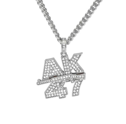 AK47 Submachine Gun Rhinestone Chain Gold / Silver