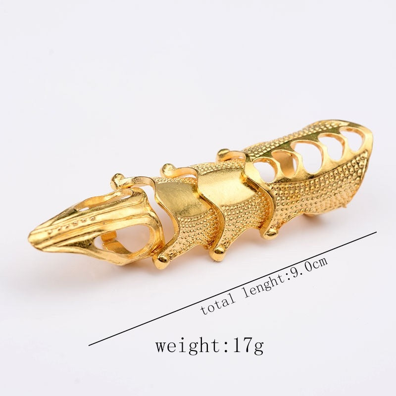 Punk knight Skull Double Finger Ring Knuckle Armour Gothic
