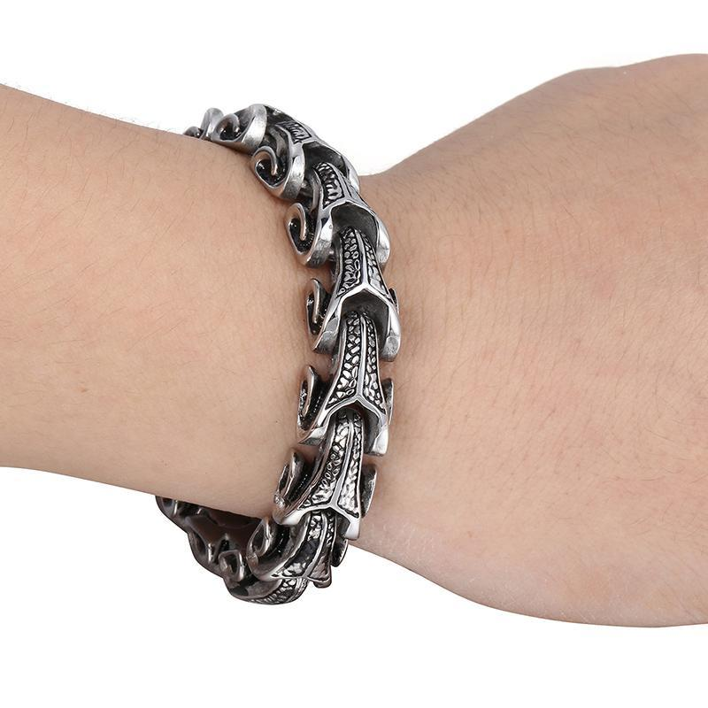 Dragon Grain Chain Punk Stainless Steel Bracelet