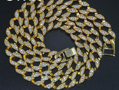 Iced out CZ Rhinestone Cuban Link Chain