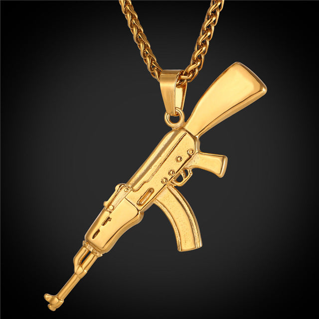 M16 Rifle Shape Pendant & Necklace Cool Jewelry Steel/Gold Color Chain