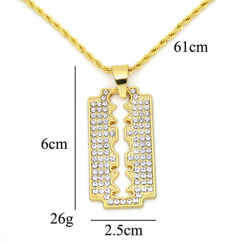 Iced Out Blade Pendant Necklace (Free)