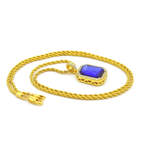 Image of Vintage Iced Out Stone Pendant Chain