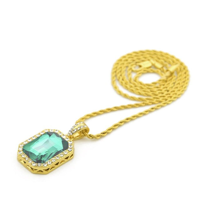 Vintage Iced Out Stone Pendant Chain