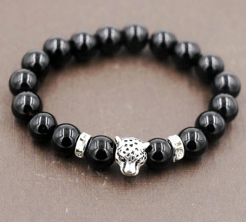 Image of Lava stone Hand string prayer beads Lion Head Bracelet (Free)