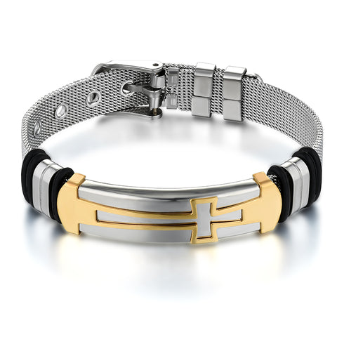 Image of ID Cross Bracelet for Men Stainless Steel belt shape