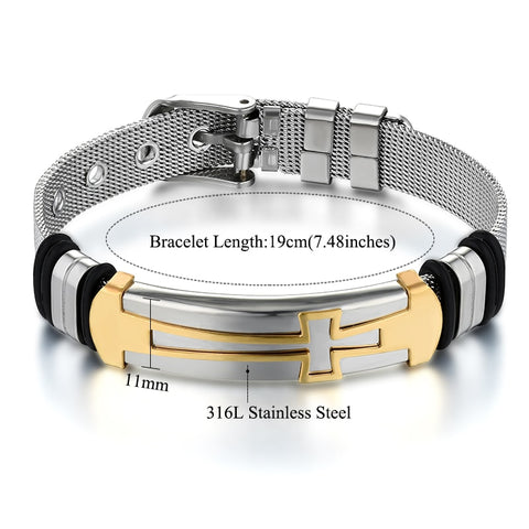 ID Cross Bracelet for Men Stainless Steel belt shape