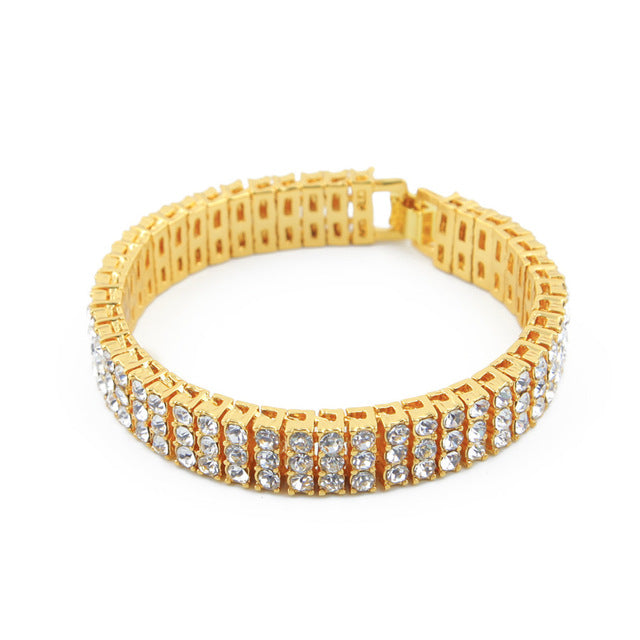 Iced Out Hip hop Bracelet Silver/Gold Color 3 Row Bling Bling Rhinestones