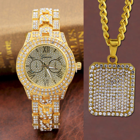 Mens Luxury Hip Hop Watch & Iced Dog Tag Necklace Combo