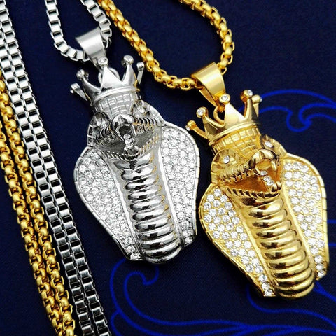 Image of Iced Out Big Cobra Snake Pendant Necklace