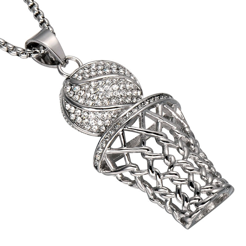 Men HIP Hop Bling Iced Out Basketball Pendants Necklaces