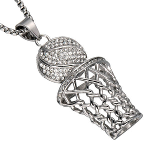 HIP Hop Men Bling Iced Out Basketball Pendants Necklaces