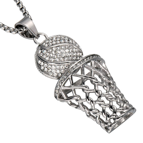 Image of Men HIP Hop Bling Iced Out Basketball Pendants Necklaces