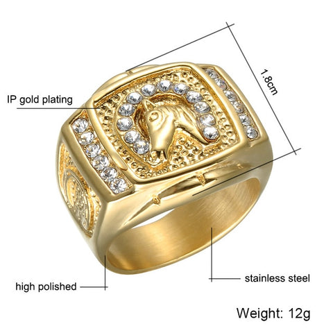 Image of Micro Paved Rhinestone Iced Out Bling Horse Ring