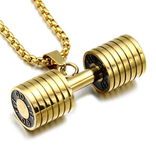 Hip Hop Fitness Heavy Barbell Dumbbell Pendant Necklace