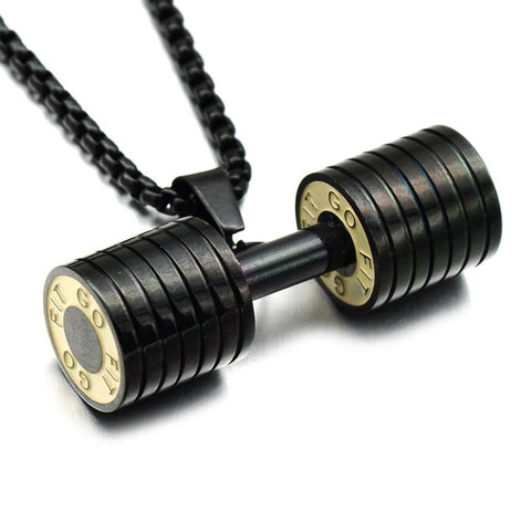Image of Hip Hop Fitness Heavy Barbell Dumbbell Pendant Necklace