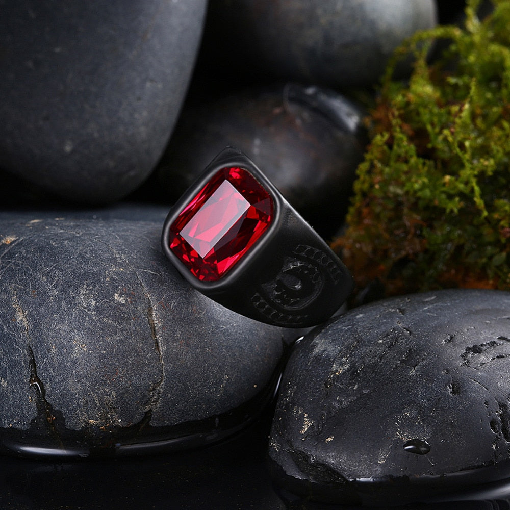 Black Geometry Stone Finger Men's Ring
