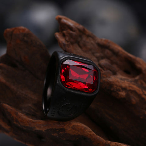 Image of Black Geometry Stone Finger Men's Ring