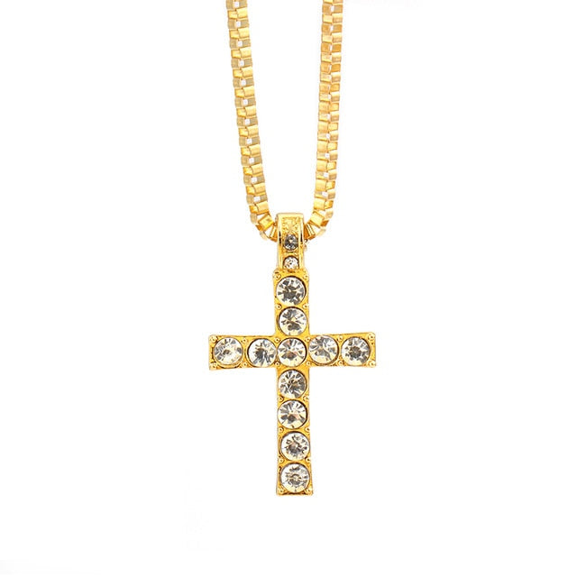 Iced Out Crystal Cross Pendant (Free)