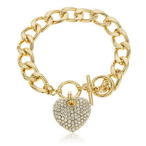 Goldtone Clear Iced Out Heart 8.5 Inch Cuban Link 12mm Toggle Bracelet