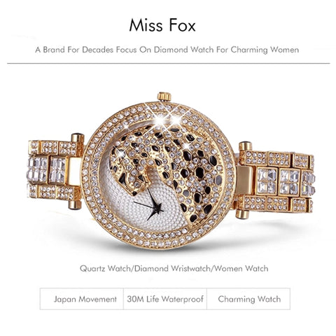 Women Miss Fox Quartz Crystal Diamond Leopard Casual Watch