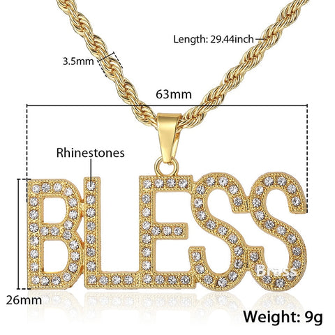 BLESS Letter Pendant Necklace With Miami Chain